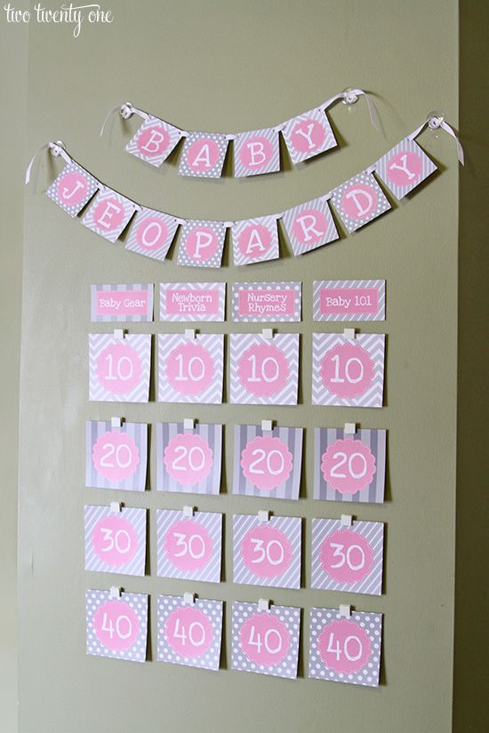 A baby shower isn't complete without a game.  Create a baby shower party game using Baby Jeopardy printables (download for FREE, here!). Use Command™ Party Clear Mounting Strips to adhere the question categories directly to the wall.  Then, following package instructions, adhere Command™ Party Mini Spring Clips in rows underneath the categories and insert the trivia cards.  The clips make it easy to flip the cards over and display the questions as you go through the game.