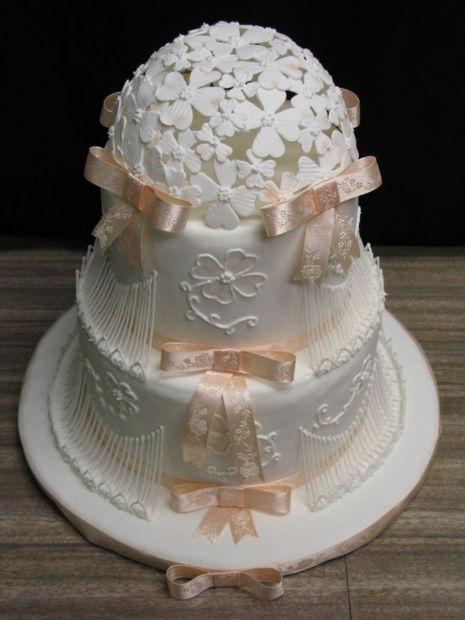 stringwork cakes | stringwork and hollow dogwood dome This was my first stringwork cake ...