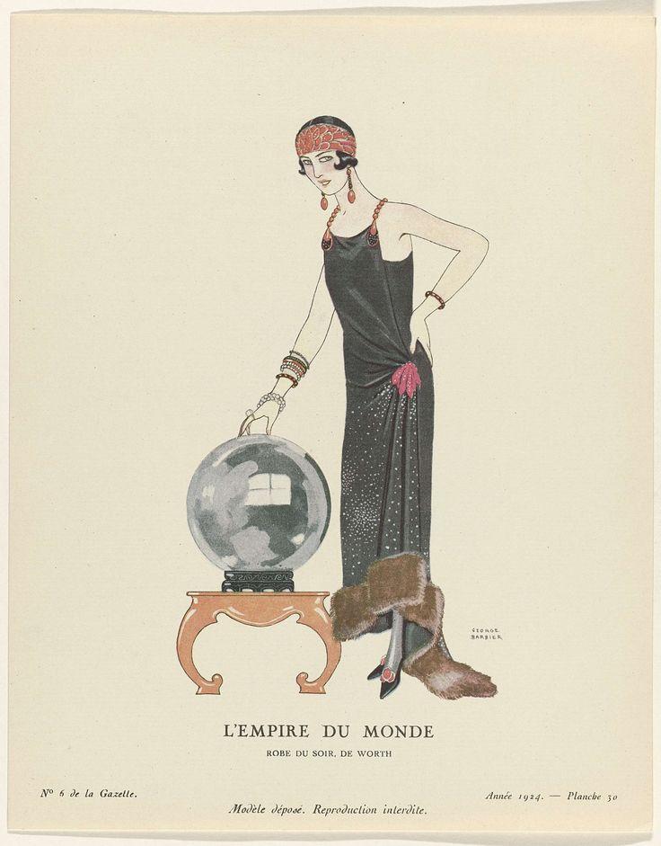 Anonymous   Gazette du Bon Ton, 1924 - No. 6 : L'Empire du monde / Robe du soir, de Worth, Anonymous, Worth, Lucien Vogel, 1924   Staande vrouw bij een grote glazen bol, gekleed in een avondjapon met sleep, aan de zoom afgezet met bont, van Worth. Zij draagt een brede hoofdband. Planche 30 uit Gazette du Bon Ton 1924, No. 6.