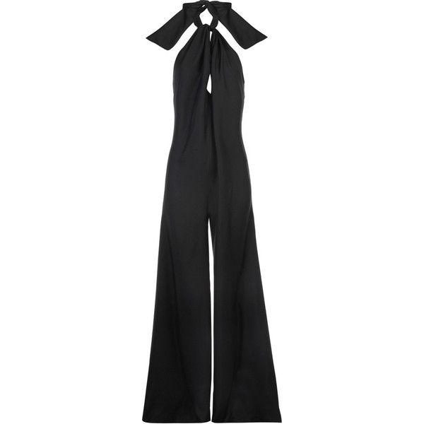 Stella McCartney Wide-leg jumpsuit (€435) ❤ liked on Polyvore featuring jumpsuits, jumpsuit, black, bottoms, pants, jump suit, black halter neck jumpsuit, halter top, backless halter top and jumpsuits & rompers