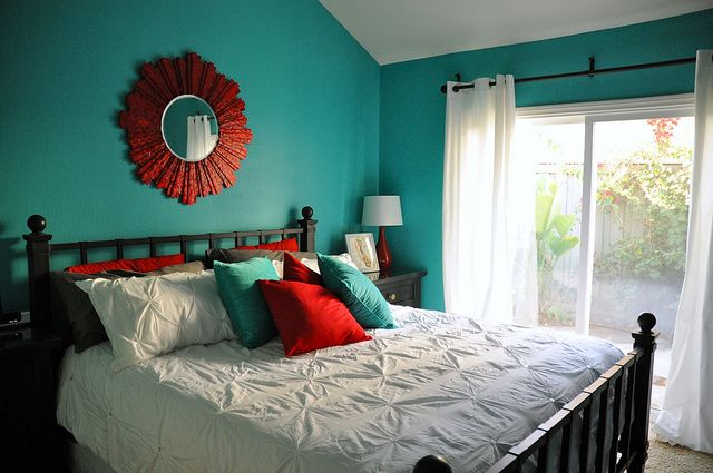 Aqua and Red Master Bedroom Makeover by AngryJulieMonday, via Flickr
