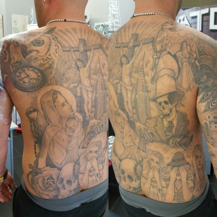 "Schiena in stile ""Chicano"" soggetti vari in stile religioso, metropolitano in celebrazione di una vita sempre al limite tra la vita è la morte; tra il successo è la sconfitta. Colori e macchinette gentilmente fornite da Lauro Paolini tattoo Supply #alexnardini #alextattoo #tattooplanet #tattoo #chicanostyletattoo #chicanotattoo #tatuaggiochicano #backsidetattoo #blackandgrey #tattooart #mexican"