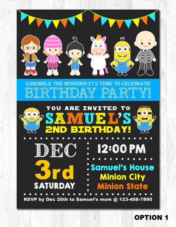 Minion invitación invitación de cumpleaños de súbditos