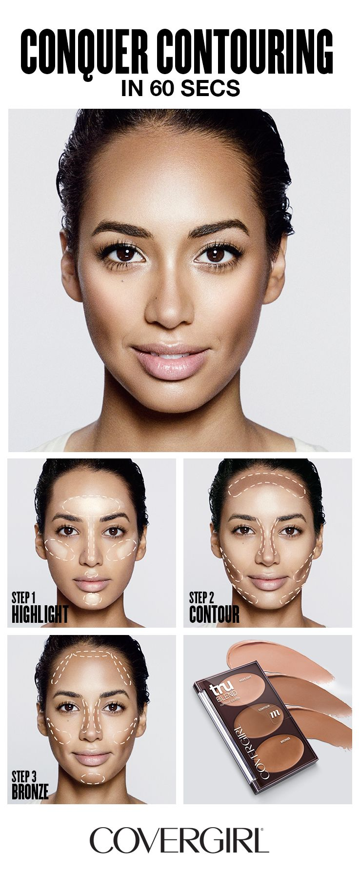 Covergirl Shows You How To Contour Your Face In 60 Seconds! Follow  Covergirl's Step