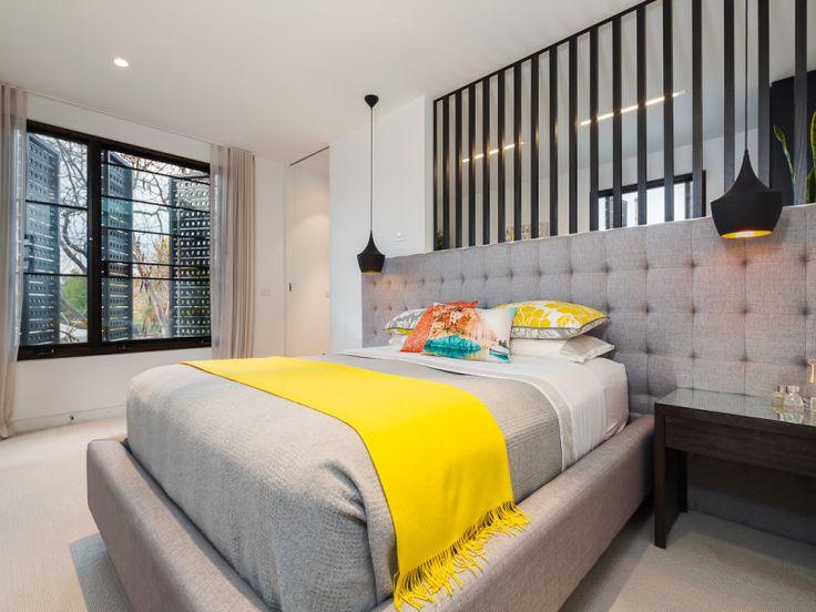 quarto de casal, branco, preto, cinza, amarelo Quartos  ~ Quartos Em Branco E Cinza