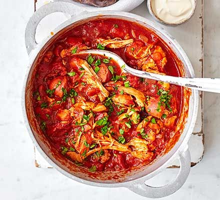 Serve this delicious chicken and chorizo ragu over rice or pasta as an easy midweek dinner for the family. You can freeze any leftovers for another day