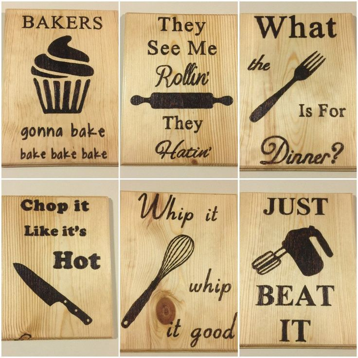 6 Funny Kitchen Signs, Rustic Kitchen Signs, Kitchen decors, Kitchen puns, Wood Burned Signs, Set of 6