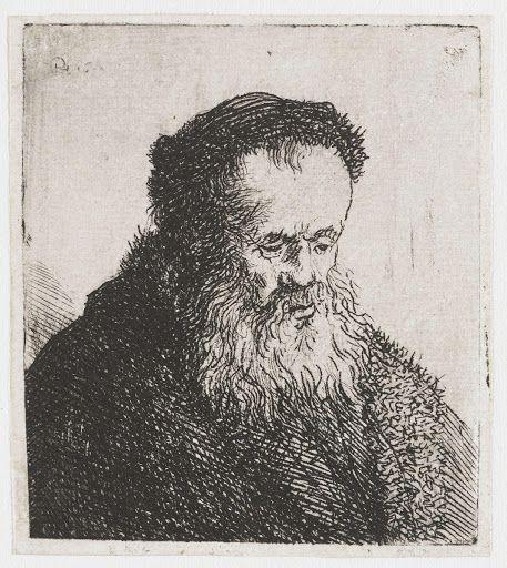 Gebaarde oude man met hoog voorhoofd Rembrandt1630/1639