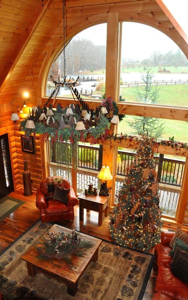 Great room windows in Bellewood model by Honest Abe Log Homes ~ jack