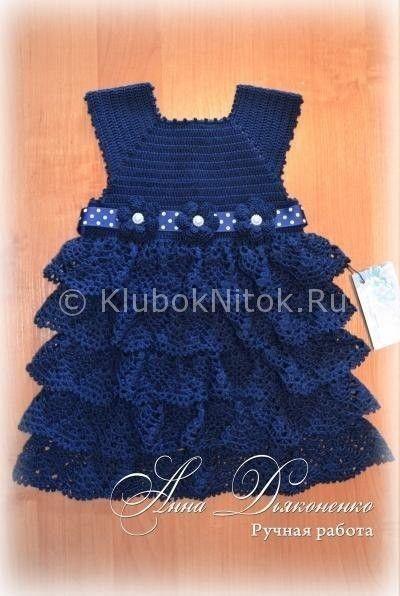 Синее платье | Вязание для девочек | Вязание спицами и крючком. Схемы вязания.