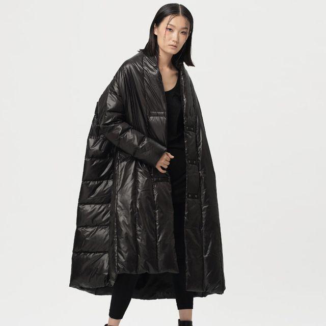 Online Shop Plus Size Winter Down Jacket Women Long Design Long-Sleeve Loose Winter Coat Parka 90% White Duck Down Doudoune Femme Pockets|Aliexpress Mobile