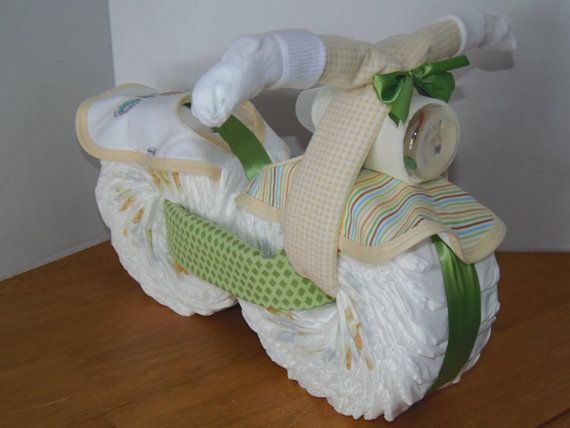 Motorcycle made out of diapers---so doing this for the baby shower