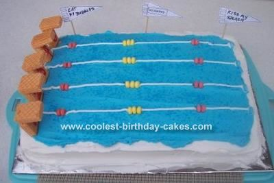 Swimming Pool Cake: This is a great cake for those that swim on a team.  I found this swimming pool cake on this web site and re-created it to fit my needs.  I wanted to make