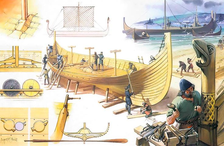 """Viking ship construction"", Angus McBride … | VIKINGS etc | Viking longship, Vikings, Viking ship"