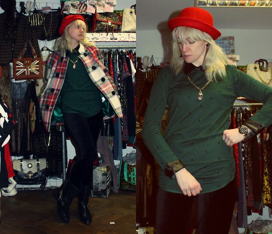 26-11-13 - Rokii Green longer length polka jumper with leather pu collar and cuffs and attached gold chain and skull pendant RRP £28 - Rokii save 20% £22.40, Rokii Red Bowler hat RRP £14 Save 25% Rokii £9, Gold watch £15  Rokii Portsmouth rokii.co.uk   jumper, hat, watch, earings all Rokii Portsmouth