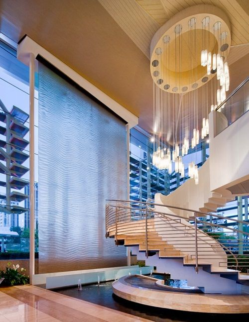 Wonderfulwaterfalls Luxurious Contemporary Indoor Waterfall Not To Mention Awesome Light Fixture Indoor Waterfallwaterfall Designdesign Interiorshome
