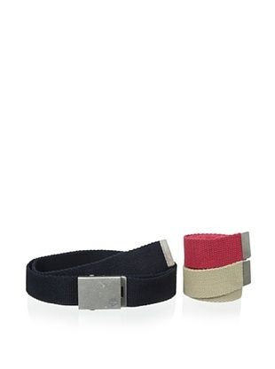 50% OFF Timberland Men's 3-in-1 Web Belt, Red/Navy/Khaki