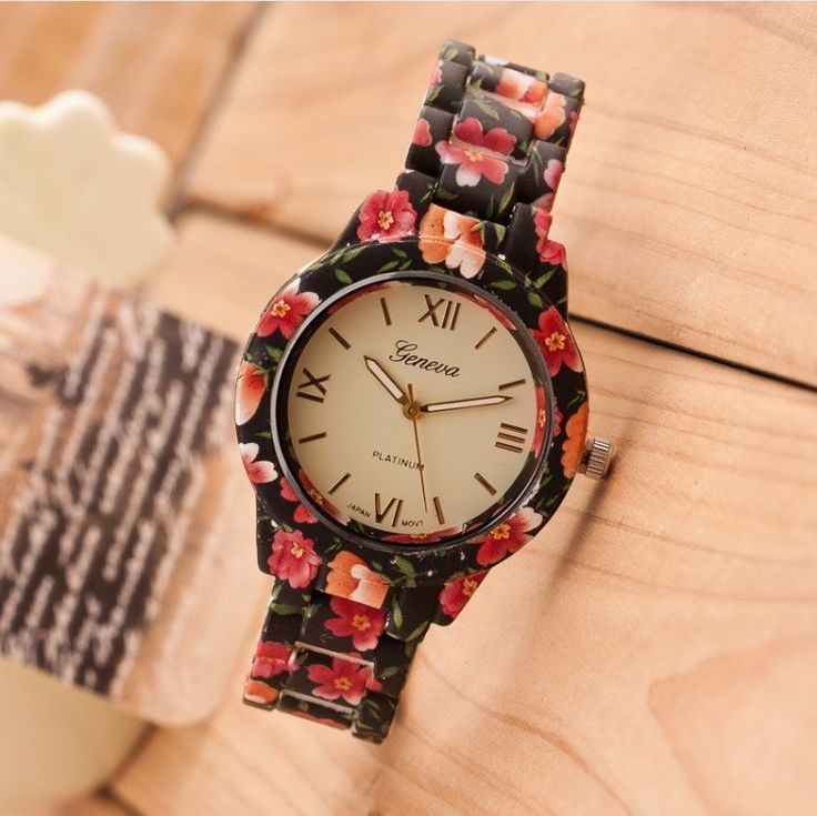 New Luxury Flowers Printed Geneva Watch Fashion Women – Gifts Leads