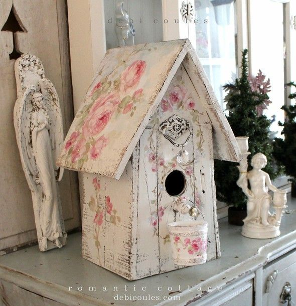Shabby Chic Large Roses Birdhouse with Crystal Pearl Peach and Bucket