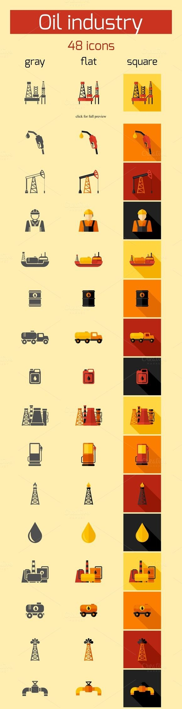 Check out 48 Oil Industry vector icons by Macrovector on Creative Market