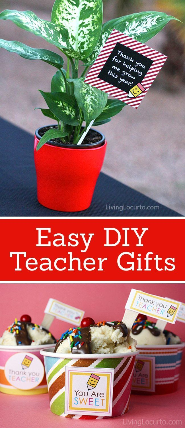 Adorable and Easy to Make DIY Teacher Gifts! Love these fun gift ideas. LivingLocurto.com