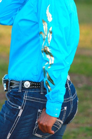 TURQUOISE RODEO SHIRT WITH GOLD FEATHERS - Ranch Dress'n