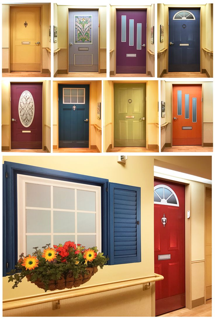 The Sunny Wall Colour In This Memory Care Nursing Home Lent Itself To Bold And Bright Colours For Their Residents Doors Adding Window Shutters Flowers