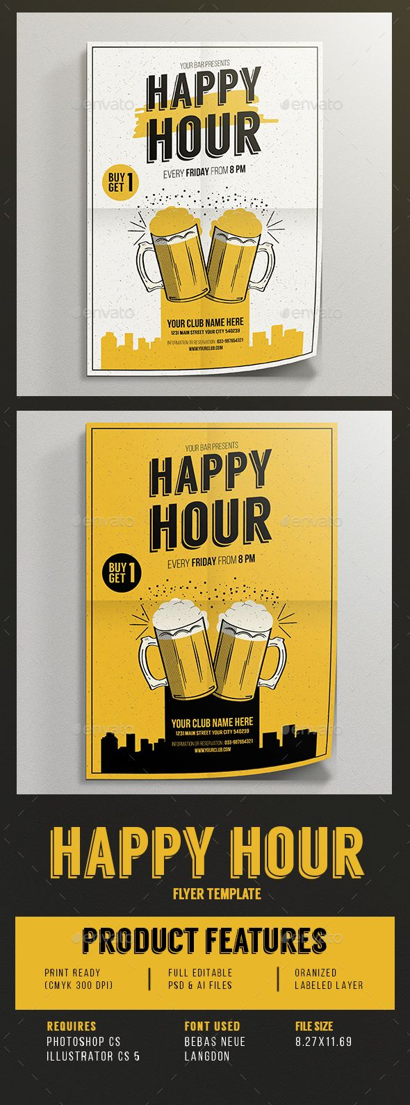 Happy Hour Beer Promotion Flyer Template PSD, Vector AI #design Download: http://graphicriver.net/item/happy-hour-beer-promotion-flyer/14221507?ref=ksioks