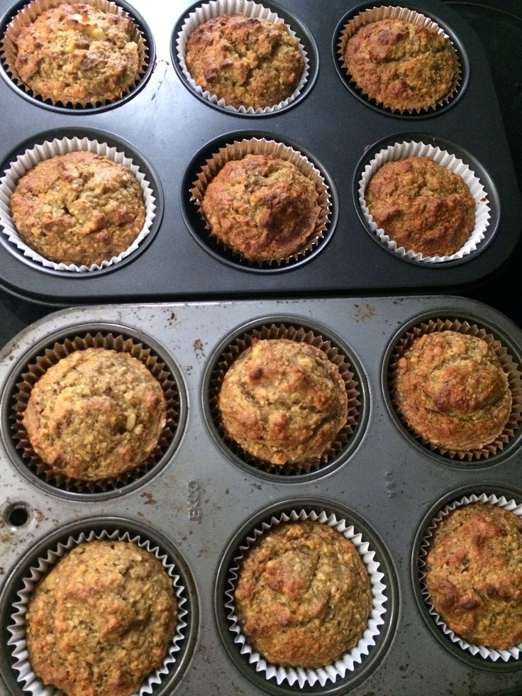 Banana, date and almond sugar free muffins   Recipe: * 1 cup almond meal  * 1 egg * 1/2 cup desiccated coconut * 1 cup wholemeal self raising flour  * 1 tsp bicarb soda * 1 cup sliced dates  * 2 over ripe bananas  *1/2 cup water * 1 tsp coconut oil   1- bring to boil dates, water, coconut oil.  take off heat and add bicarb. Leave to cool until room temperature. 2- mix date mixture with all other ingredients.  3- using muffin or loaf tin bake in 180 degree oven for approximately 25-30…
