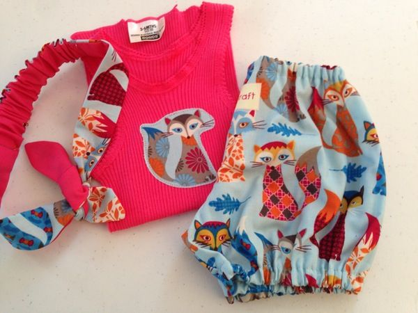 Image of Pink singlet with fox bloomers and headband set