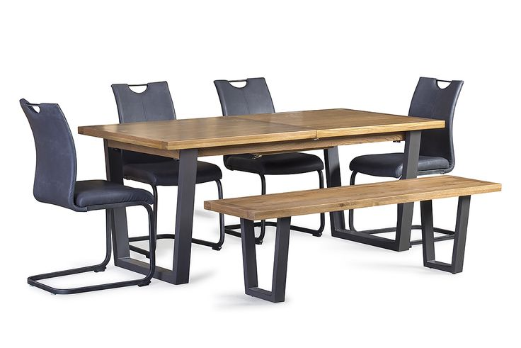 Century 1.8 – 2.3m Ext. Dining Table  + Bench +4x Bess Chairs – Furniture Stores Ireland