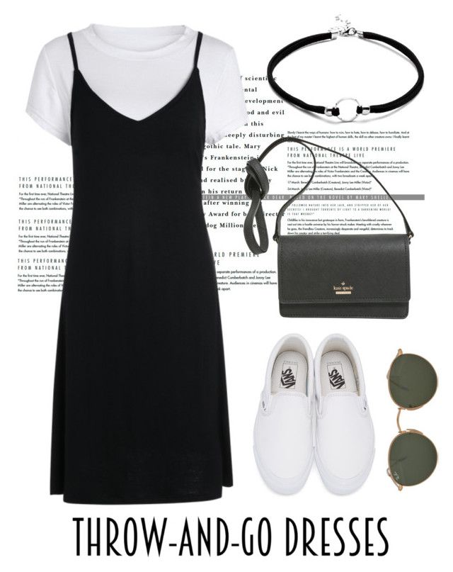 """""""Thrown and go dress"""" by trishsa on Polyvore featuring Vans, Kate Spade and Ray-Ban"""