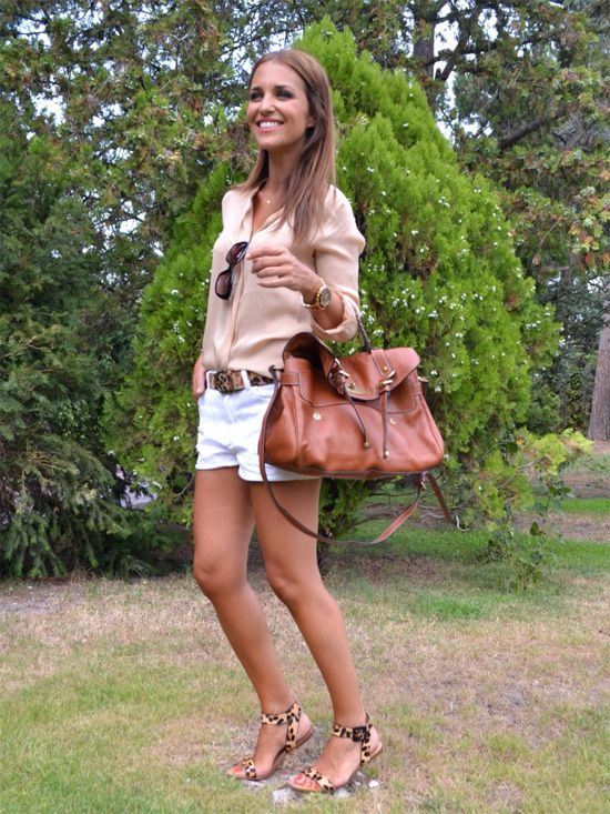 beige blouse, white jean shorts, leopard sandals, cognac bag, belt