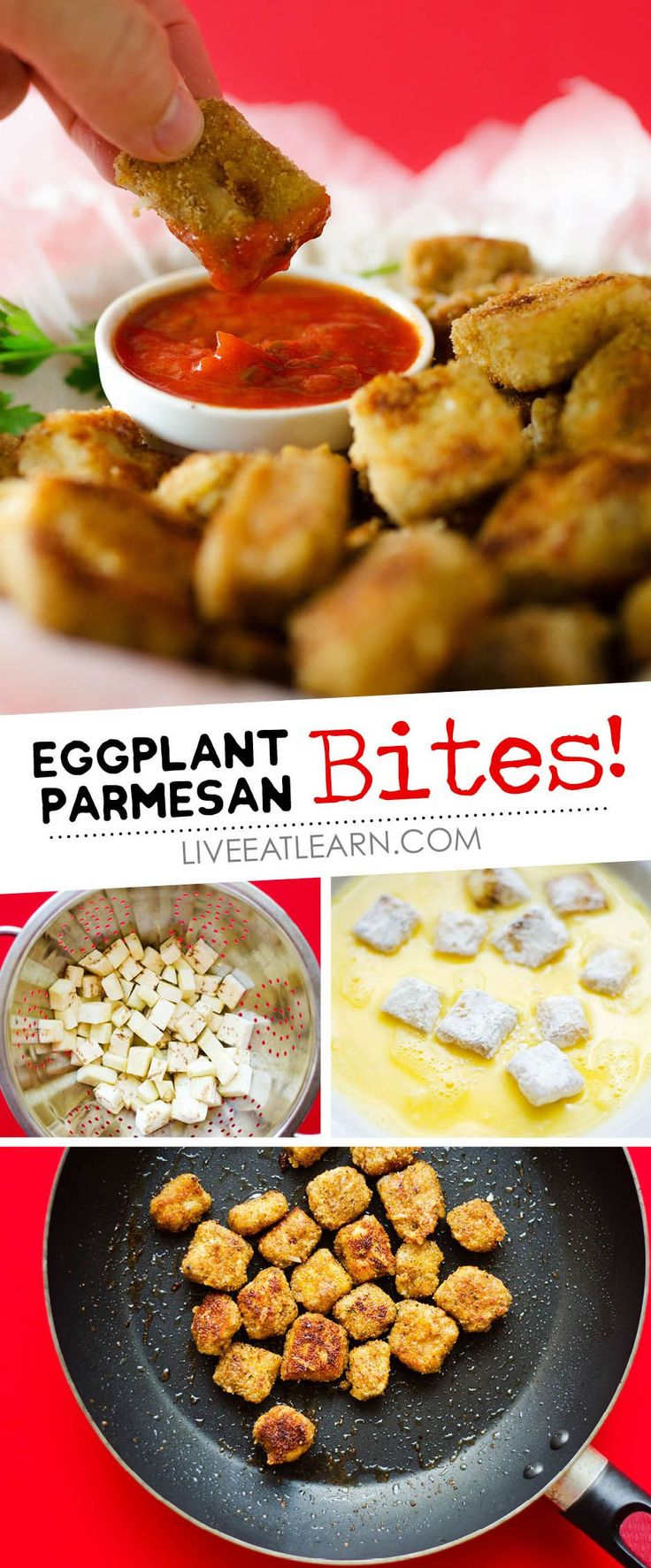 These Eggplant Parmesan Poppers recipe make a healthy appetizer that's easy and tasty! Perfect as a family-friendly vegetarian snack, starter, or main dish! // Live Eat Learn (Top View Healthy Recipes)