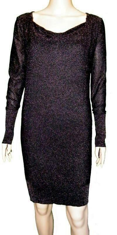 85b214d0864 NWT DKNY Gold Metallic Black Knit Layered Sweater Dress Long Sleeve Cowl  Neck S  fashion