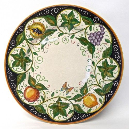 "Bonechi Imports - Handmade Italian Ceramics from Deruta - Four for Dinner Set with 11.5"" Dinner Plate and 9.5"" Scodella Pasta Bowl"