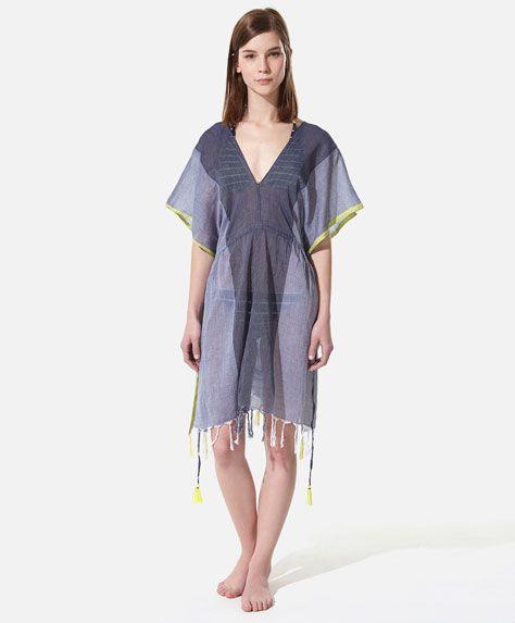 Striped tunic with fringing detail - OYSHO