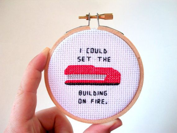 Red Stapler cross stitch -- I could set the building on fire and burn this office to the ground on Etsy, $25.96 CAD