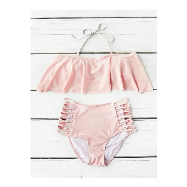 SheIn(sheinside) Flounce Detail Ladder Cutout High Waist Bikini Set ($13) ❤ liked on Polyvore featuring swimwear, bikinis, pink, bandeau bikini, bikini swimwear, high rise bikini, frilly bikini and pink high waisted bikini