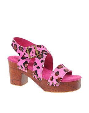 Shakuhachi Animal Print Heel Sandal