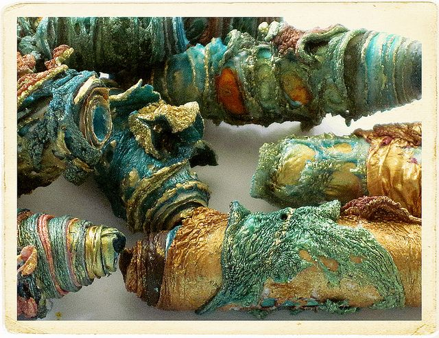beads by Carolyn Saxby Each bead is hand made by her from painted Tyvek which I manipulate with heat