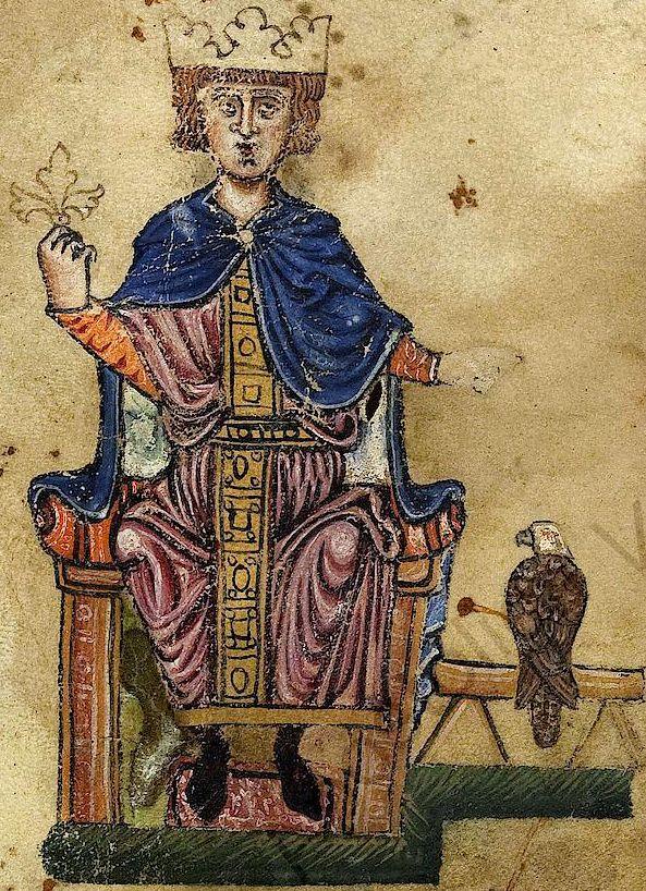 Frederick II (1194-1250)  régna sur le Saint-Empire de 1220 à 1250. Roi de Germanie, de Sicile et de Jérusalem, il connut des conflits permanents avec la papauté et se vit excommunié par deux fois. Le pape Grégoire IX l'appelait « l'Antéchrist ». Il parlait au moins six langues, accueillait des savants du monde entier à sa cour, portait un grand intérêt aux mathématiques et aux beaux-arts, se livrait à des expériences scientifiques, et édifiait des châteaux dont il traçait parfois les plans.