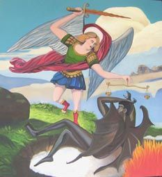 St Michael and the Devil Oil on canvas 4' x 3' 1999 Artist Linda Leftwich
