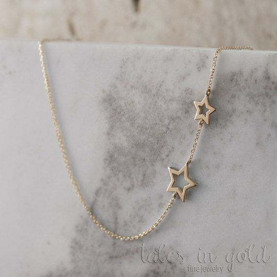 Star Necklace Gold Necklace Rose Gold 14 Karat Gold by TalesInGold