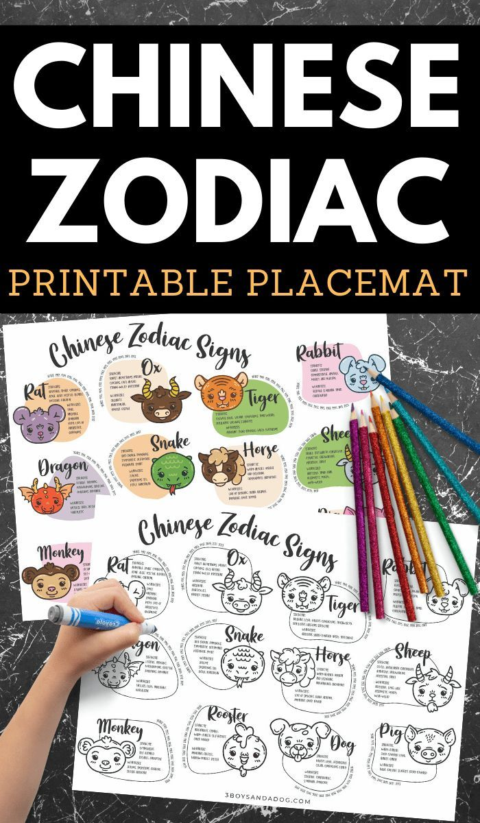 This is a picture of Printable Chinese Zodiac Placemat inside kid