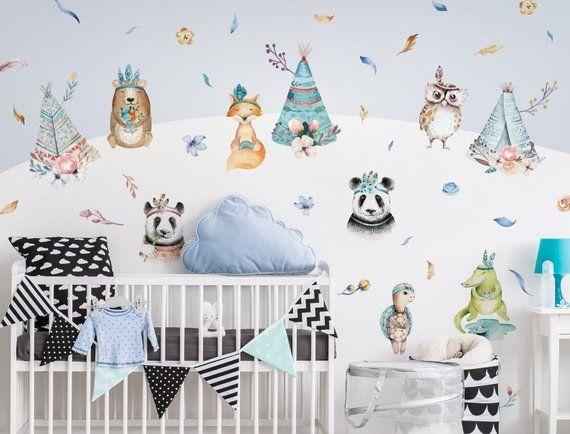 Kinderzimmer Deko Aquarell Wandtattoo Tiere Indianer Zelte
