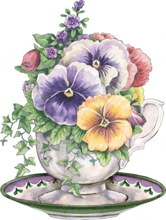 tea cup and pansy