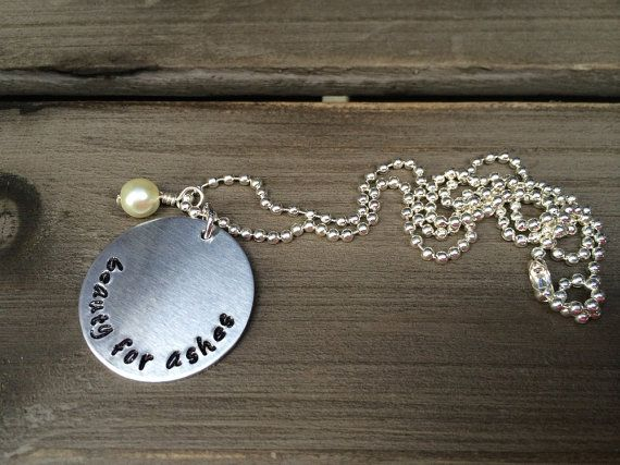 Beauty for Ashes with Small Pearl Inspirational Necklace Isaiah 61:3 Bible Verse Necklace Hand Stamped Aluminum Necklace with Ball Chain