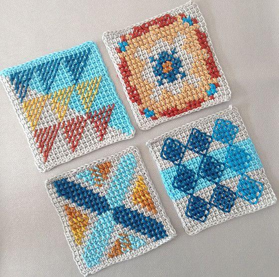 crochet bag pattern inspired by portuguese tiles pattern - tunisan crochet, cross stitch, cotton yarn, diy