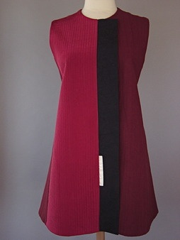 Princess line vest in rusty red raspberry in Japanese cotton and vintage silk - Juanita Girardin